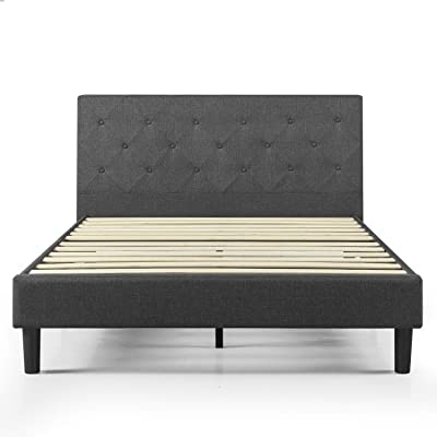 ZINUS Shalini Upholstered Platform Bed Frame / Mattress Foundation / Wood Slat Support / No Box Spring Needed / Easy Assembly, Dark Grey, Queen
