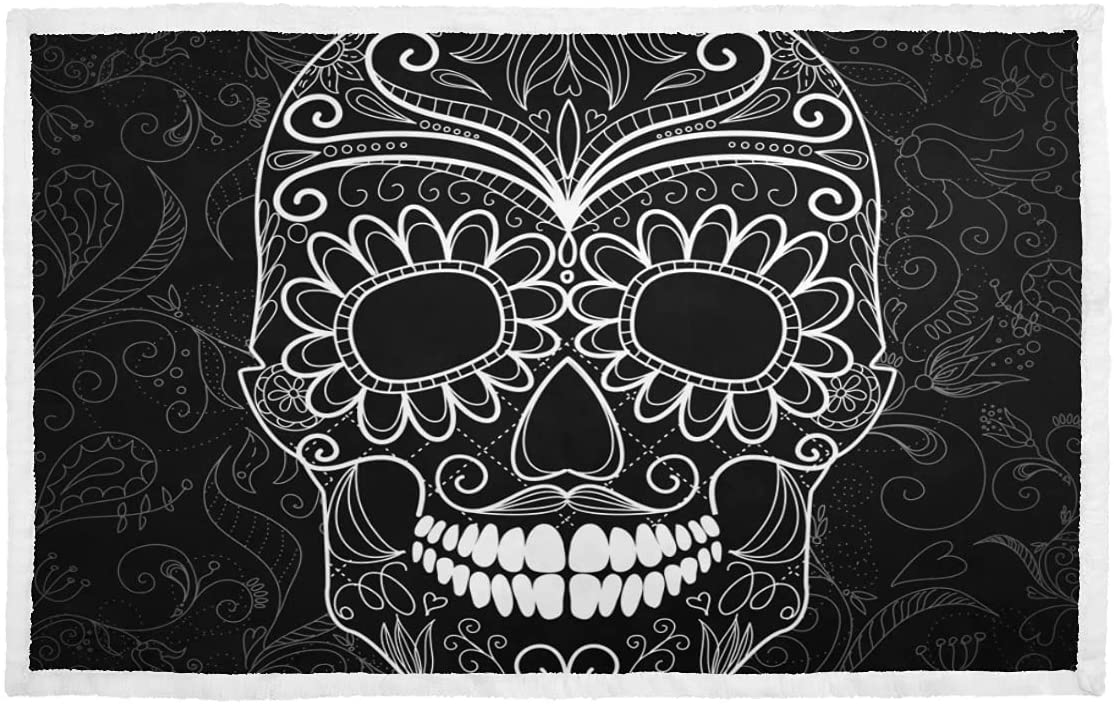 Clearance SALE! Limited time! Dog Bed Blanket Black and White High material Small Soft Pol Skull Pet