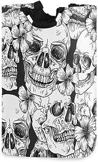 DOMIKING Panier à linge pliable avec poignée - Motif tête de mort et fleurs - Pour chambre d'enfant - En tissu sale