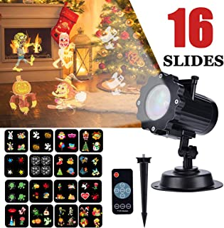 Christmas Light Projector, EECOO Mini Waterproof Projection Lamp for Xmas Birthday Wedding Party Festival Indoor Outdoor Decoration (16 Patterns)