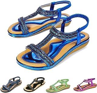 ba90b6fadecba9 Gracosy Sandales Femmes Plates, Chaussures Été Nu Pieds à Talons Plats  Claquettes Plage Semelle Compensées