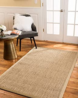 Natural Area Rugs 100% Natural Fiber Handmade Maritime Natural Seagrass Rug, 5' x 8' Sage Border