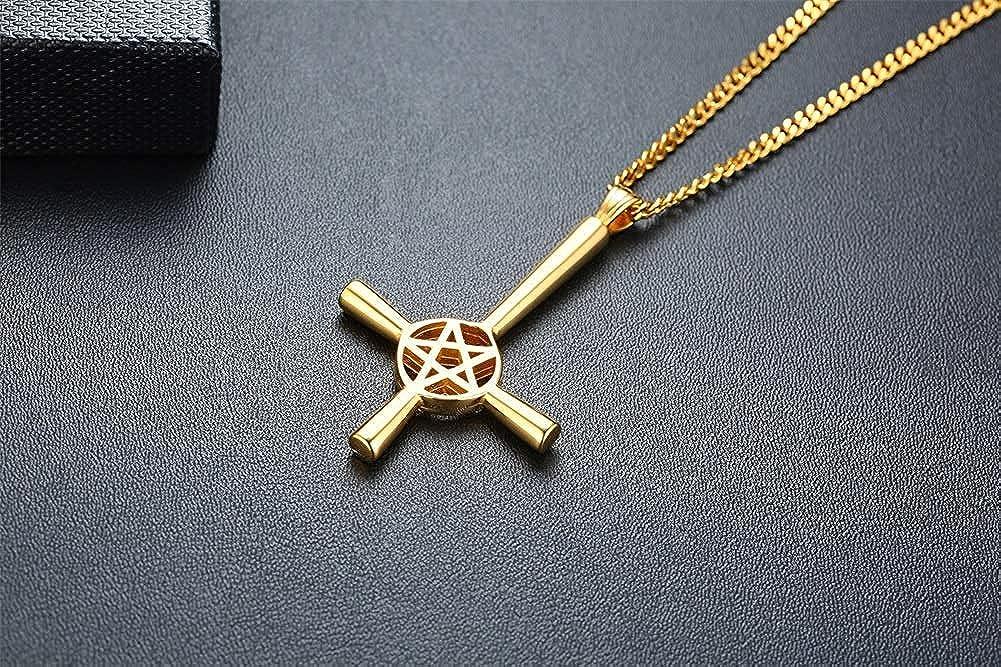 cadena de 50 cm Collar con colgante sat/ánico de cruz invertida invertida y estrella de pentagrama para hombres religiosos Satan/ás