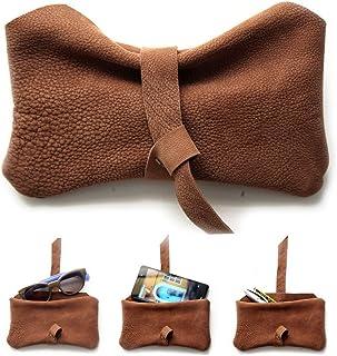 Custodia cellulare, Porta occhiali, Astuccio porta penne, Bustina in pelle NABUK marrone o blue. Camy, little pouch