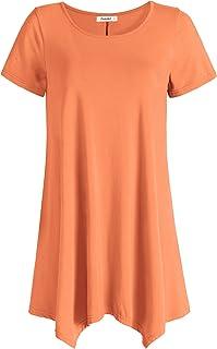15d93a09d67199 Esenchel Women s Short Sleeves Tunic Shirt Loose Fit Leggings Top