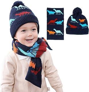 iFCOW Children Winter Knitted Warm Hat, 2pcs Kids Boys Girls Hat Scarf Set Neck Warmer for 1-4Y Kids