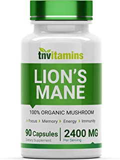 Organic Lion's Mane Mushroom Supplement (2400 MG x 90 Capsules)   Nootropic Brain Support Supplement & Booster   100% Orga...