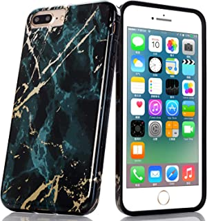 BAISRKE Shiny Rose Gold Marble Design Clear Bumper Matte TPU Soft Rubber Silicone Cover Phone Case Compatible with iPhone 7 Plus iPhone 8 Plus (Green)