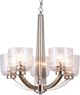 "Alice House 22"" 5-Light E26 Large Chandelier Brushed Nickel Modern Style Hammered Glass Traditional Hanging Pendant Lighting"