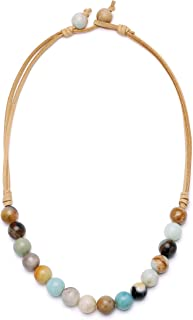 Aobei Natural Amazonite Necklace Hand Knotted Gemstone Beaded Handmade Jewelry for Women 18''