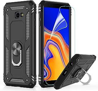 LeYi Compatible with Funda Samsung Galaxy J4 Plus Armor Carcasa con 360 Anillo iman Soporte Hard PC y Silicona TPU Bumper antigolpes Fundas Case para Movi J4 Plus con HD Protector de Pantalla,Negro