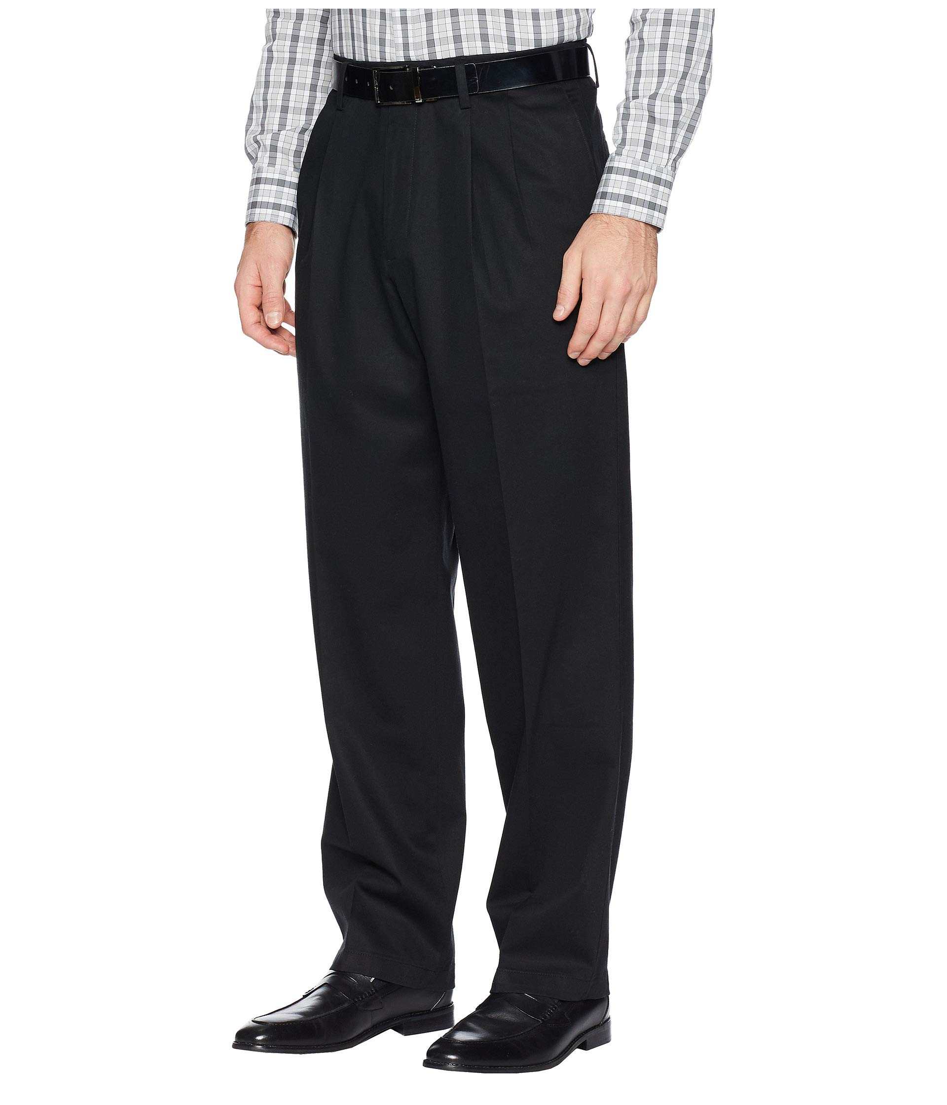 D4 Black Dockers Signature Cotton Stretch Pleated Khaki Pants Fit Lux Relaxed f8qA84