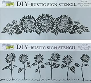 Sunflower Stencils for Painting - on Wood, Walls, Fabric, Furniture, Canvas, DIY Home Decor | Reusable 16.5 x6 Inch Sun Fl...