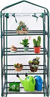 Giantex Outdoor Portable Greenhouse Multi Tier Shelves Stands Small Shelving Green House for Herb and Flower (4 Tier 4 Shelves)
