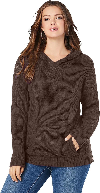 Roaman's Women's Plus Size Thermal Waffle Hoodie Sweater