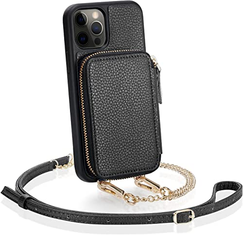 ZVE iPhone 12 Pro Max Crossbody Wallet Case, Zipper Phone Case with Credit Card Holder Wrist Strap Purse Cover Gift f...