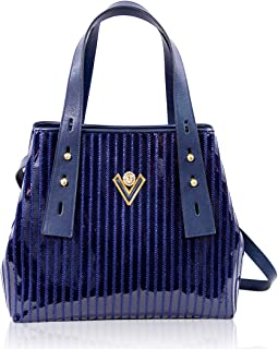 Valentino Orlandi Women's Large Handbag Tote Italian Designer Purse Classic Blue Genuine Leather Top Handle Satchel Crossbody Bag in Cinched Design with Embroidery
