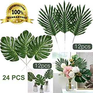 Artiflr 24 Pcs 2 Kinds Tropical Plant Palm Leaves Artificial Palm Leaves Faux Leaves Safari Leaves Hawaiian Luau Party Suppliers Decorations