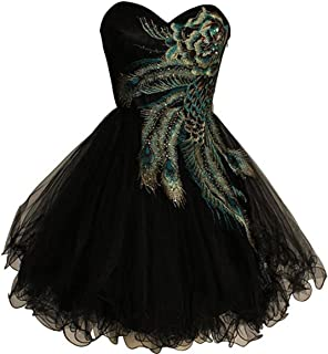 Yuxin Sweet Tulle Ball Gown Peacock Embroidered Prom Dress Short Homecoming Dress Prom Gown