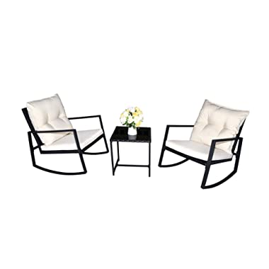 Kozyard Moana Outdoor 3-Piece Rocking Wicker Bistro Set, Two Chairs and One Glass Coffee Table, Black Wicker Furniture (White Cushion)