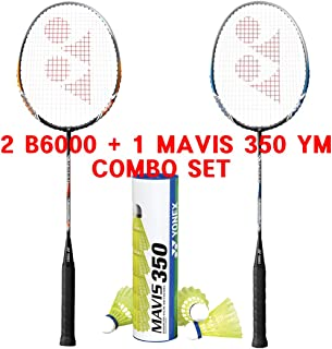 YONEX Basic 6000 Mavis 350 Yellow Medium Shuttlecock Badminton Combo Set