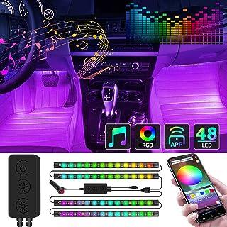 Kundorf LED Innenbeleuchtung Auto, 12V 4pcs RGB 48 LED Auto LED Strip, Zwei Linien Design, mehrfarbig Innenbeleuchtung mit Zigarettenanzünder, APP Steuern