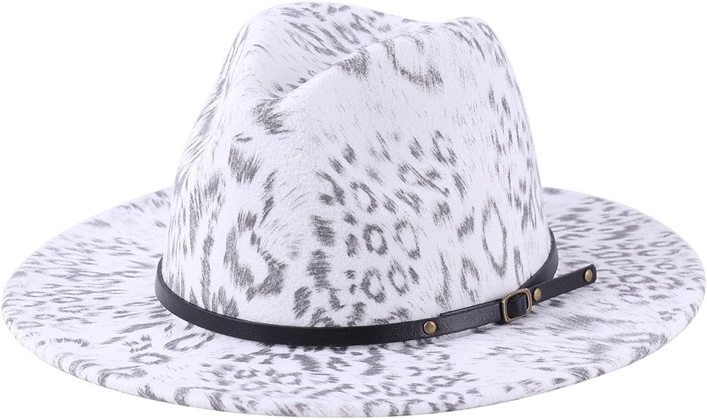 Lanzom Women Belt Buckle Fedora Hat Wide Brim Leopard Jazz Hat