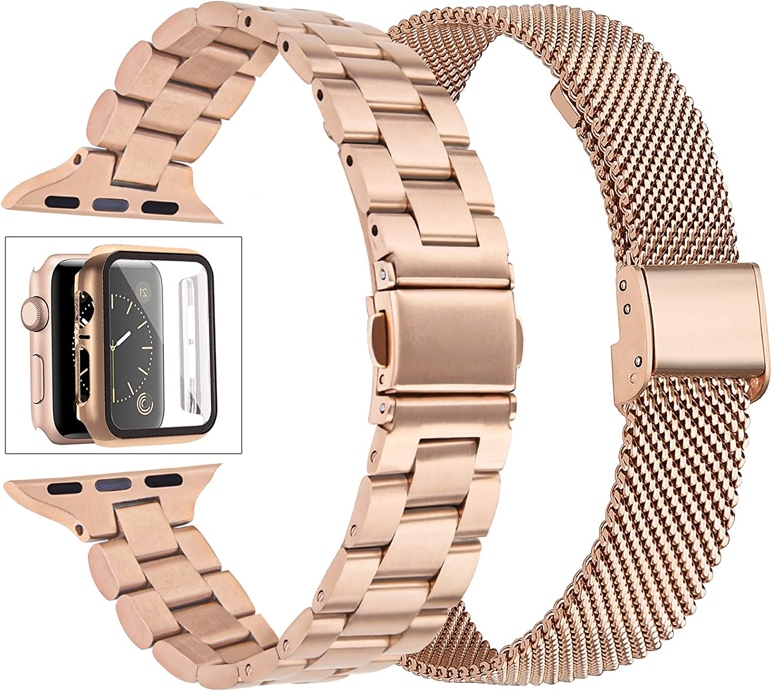 2 Pack Compatible with 40mm Apple Watch Band, iWatch Bands 40mm Series 6/5/4/SE for Women, CAGOS Thin Stainless Steel iPhone Watch Strap + Mesh Loop with Screen Protector Cover (Rose Gold, 40mm)