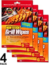 Grate Chef Non-Stick Grill Wipes, High Heat Resistant, Cleans and Oils Your Grill Grate, 4 Pack, 6 Wipes per Pack, 24 Wipes in Total