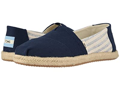 TOMS Alpargata on Rope (Navy Ivy League Stripes on Rope) Women