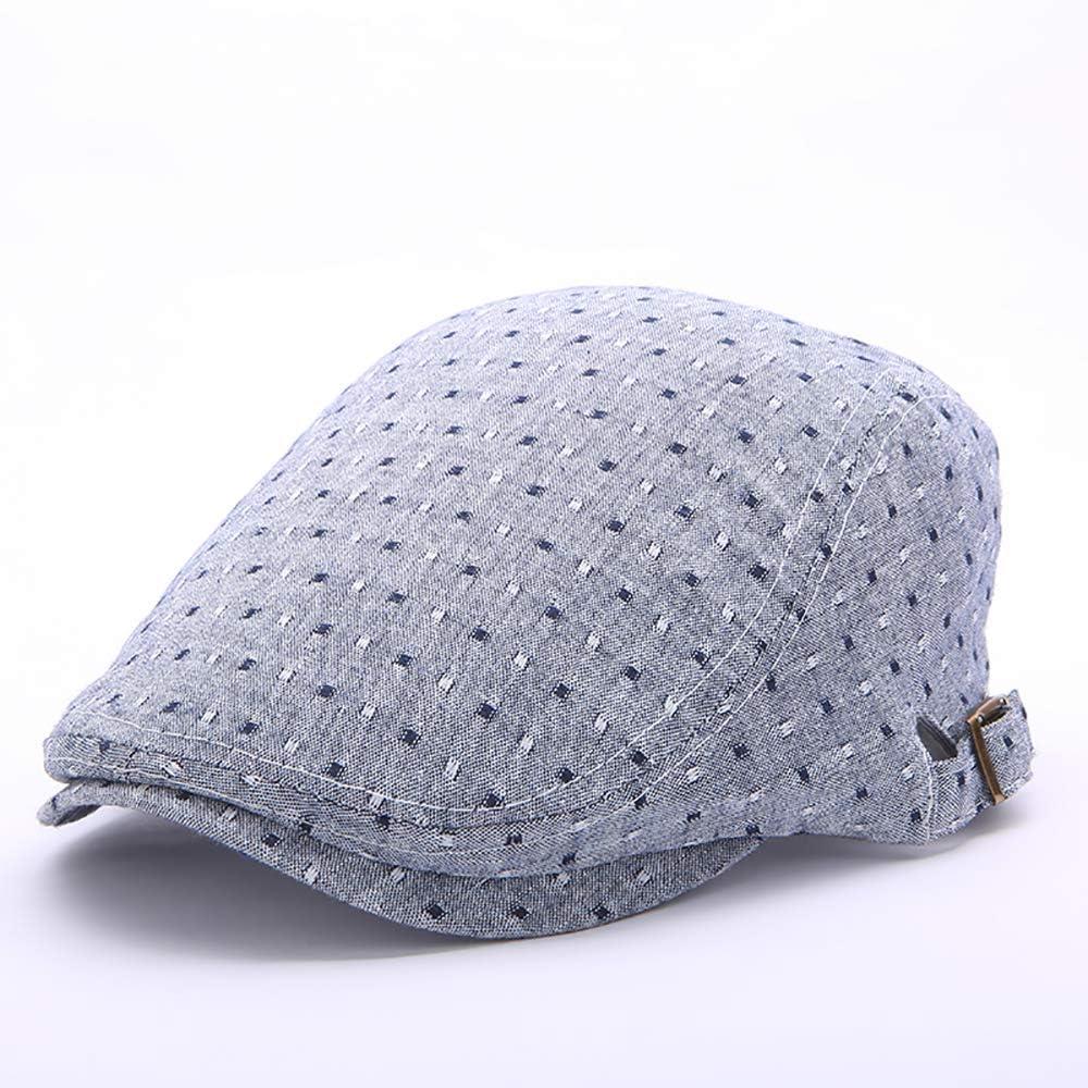 Men Women Summer Cotton Breathable Causal Beret Caps Sunscreen Forward Hat Flat Caps AZHAO (Color : Color Grey, Size : One Size)