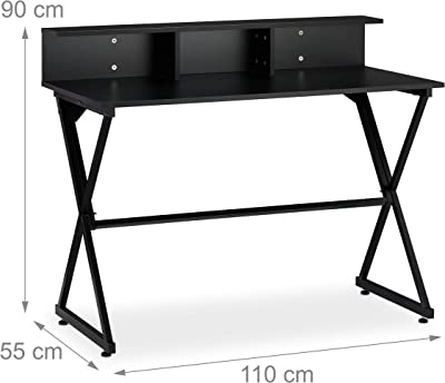 Relaxdays, support supplémentaire, tiroirs,Table pour bureau 90 x 110 x 55 cm, toutes couleurs, Noir