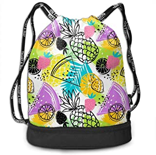 Sports Outdoors Unisex Drawstring Backpack White Lily And Hibiscus