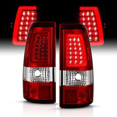 For Black 99-02 Silerado Pickup LED Tube Tail Lights Brake Lamp Replacement Driver And Passenger Side