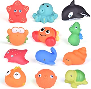 FUN LITTLE TOYS 12 PCs Bath Toys for Toddlers, Assorted Sea Animals Water Toys for Party Favors, Kids Prizes