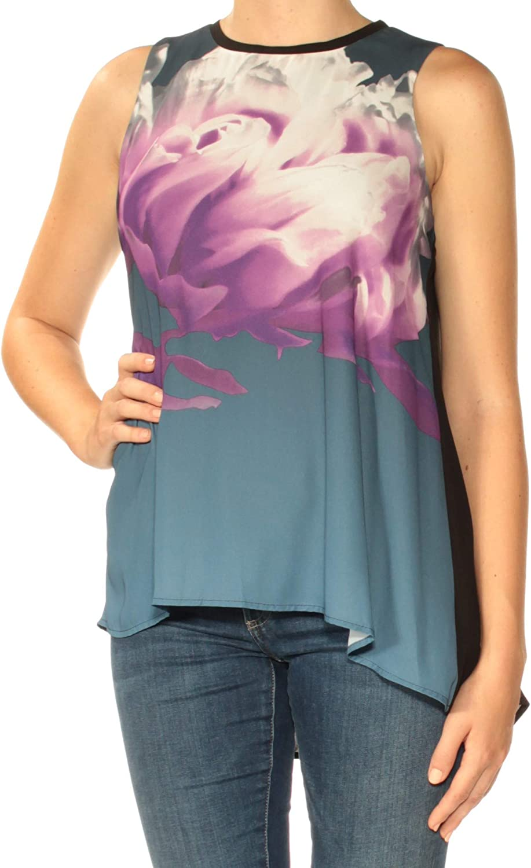 Alfani Womens Purple Floral Sleeveless Jewel Neck HiLo Top Petites US Size  8
