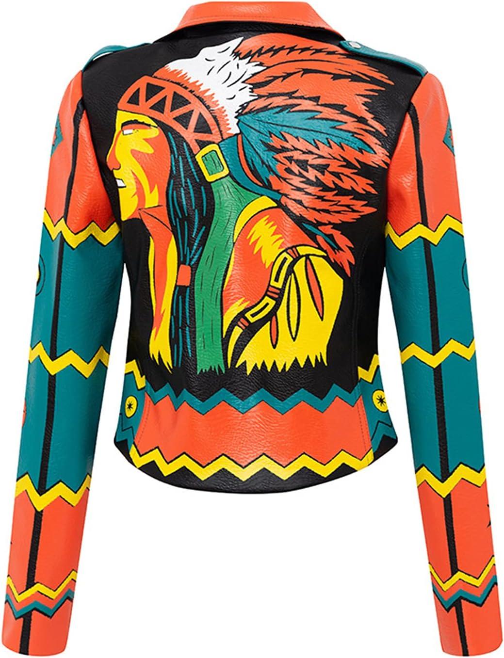 YHNY Women's Leather Jacket Graffiti Printed Motorcycle Rider Slim Short Coat Suit Neckline Punk Rock Casual Sweatshirt Orange-M