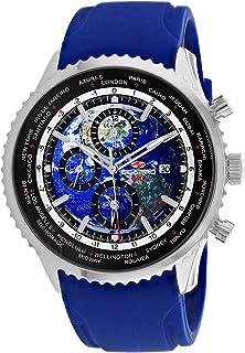 Seapro Men's Meridian World Timer GMT Stainless Steel Quartz Rubber Strap, Blue, 22 Casual Watch (Model: SP7521)