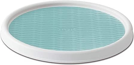 Copco 5234758 Non-Skid Pantry Cabinet 2-Tier Lazy Susan Turntable, 12-Inch, White/Aqua, Plastic, White/Aqua, 12-Inch