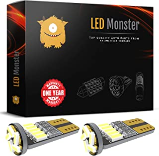 LED Monster 2pcs T10 Wedge Best Value Super Bright High Power 3014 15-SMD 194 168 2825 W5W White LED Bulb Lamp for Car Truck Interior Dome Map Door Courtesy License Plate Lights