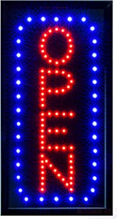 LED Neon Open Sign for Business: Vertical Lighted Sign Open with Static and Flashing Modes – Electric Light up Signs for Stores, Bars, Barber Shops (19 x 10 inches, Model 5)