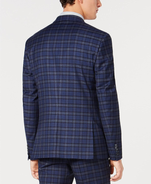 bar III Mens Blazer Jacket Long Plaid Slim Fit Stretch Blue 40