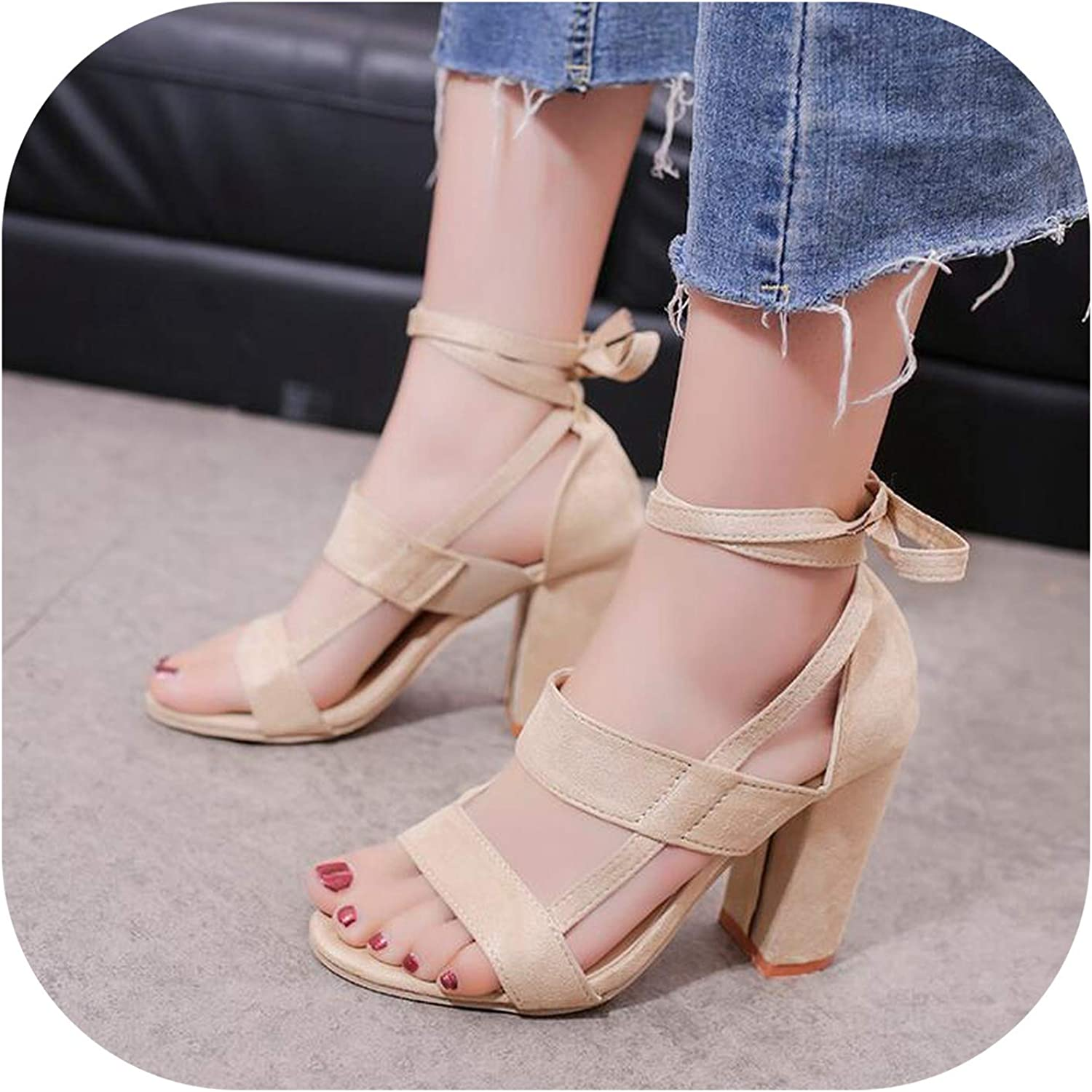 Alerghrg Square Heels Fish Mouth Cross Straps Thick with Super High Heel Sandals Size 34-43 d903