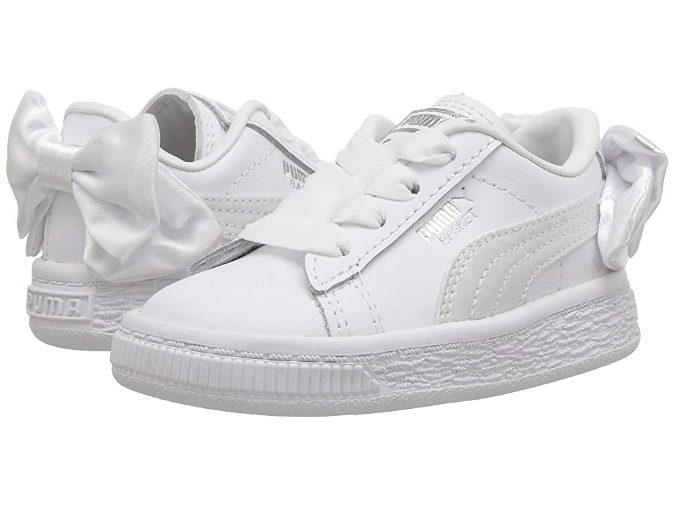 Puma Kids Basket Bow AC INF (Toddler) (White) Girls Shoes