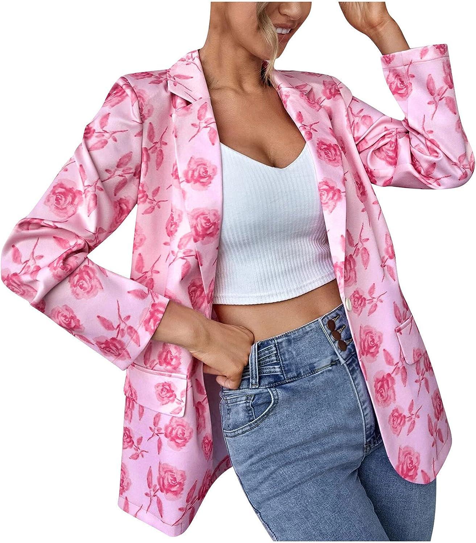Womens Lightweight Cardigan Floral Button Down Cardigans Shirt Long Sleeve Lapel Jacket Coat for Autumn Winter