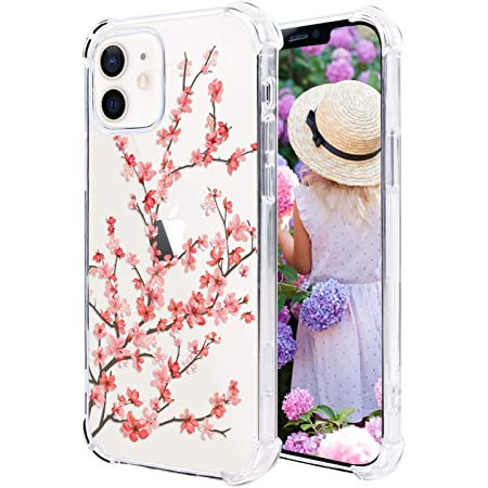 Hi Space Compatible with iPhone 12 Case & iPhone 12 Pro Case 2020 6.1 Inch, Cherry Blossom Floral Ultra Clear Slim Transparent Flexible TPU Bumper Shockproof Protective Cover Pink Flower