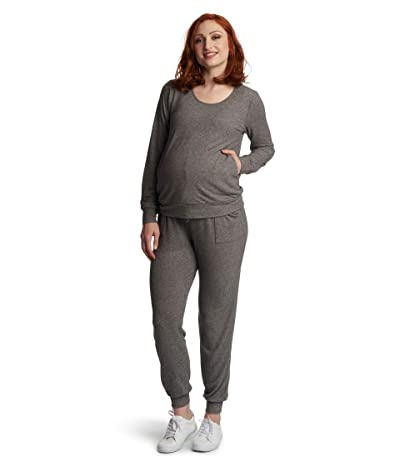 Everly Grey Whitney Maternity/Nursing Two-Piece Set (Charcoal) Women