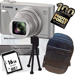 1A Photo PORST Oferta de Aniversario Canon Powershot SX730 HS Cámara Digital Plata + Tarjeta de Memoria SD 16GB + Estuche + Protector de Pantalla + Mini trípode + Paño de Microfibra