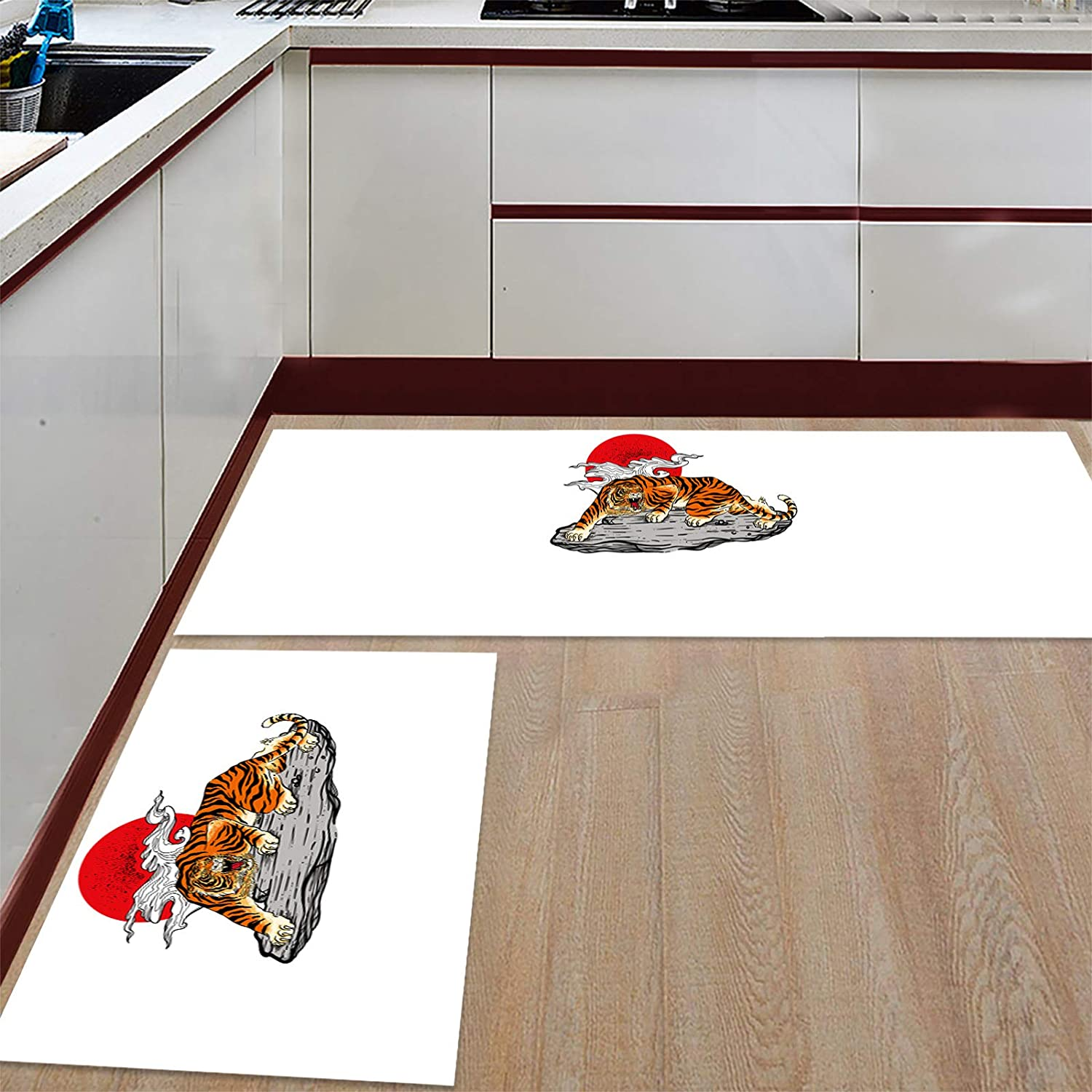Advancey 2 Gifts Pieces Anti-Slip Kitchen Max 58% OFF Mats Stone with Tiger Re and