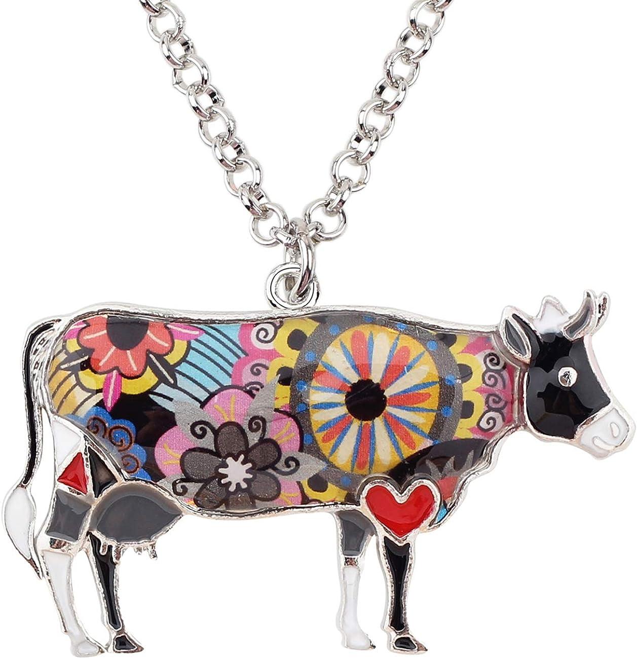 BONSNY Enamel Alloy Chain Farm Cow Necklaces Pendants for Women Kids Jewelry Cute Design